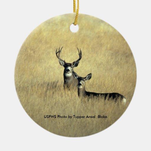 Ciervo mula adorno redondo de cerámica