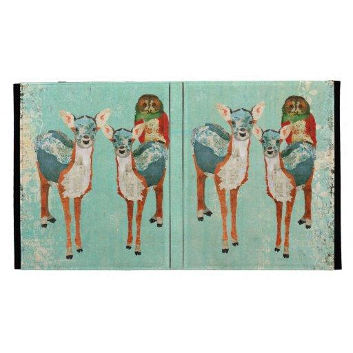 Ciervos ambarinos y azules y caja color de rosa de