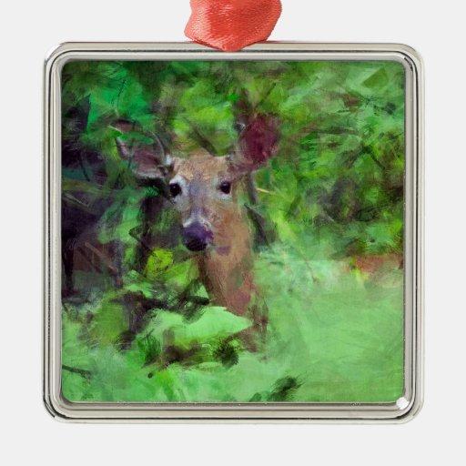 Ciervos atados blanco en la pintura de maderas adorno cuadrado plateado