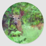 Ciervos atados blanco en la pintura de maderas pegatina redonda
