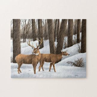 Ciervos atados blanco puzzles con fotos