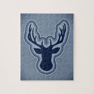 Ciervos azules del resplandor de la lona del dril rompecabeza