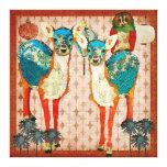Ciervos azules y arte color de rosa de la lona de impresiones en lona estiradas