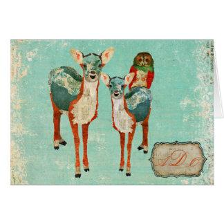 Ciervos azules y monograma color de rosa Notecard