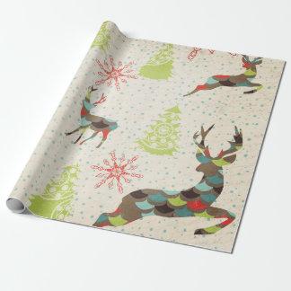 Ciervos caprichosos, copos de nieve, papel de papel de regalo