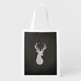 Ciervos con el dibujo de tiza de las astas bolsa de la compra