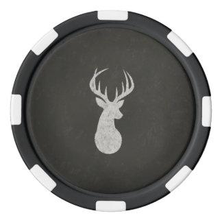 Ciervos con el dibujo de tiza de las astas juego de fichas de póquer