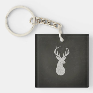 Ciervos con el dibujo de tiza de las astas llavero cuadrado acrílico a doble cara