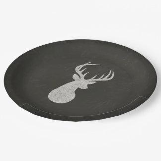 Ciervos con el dibujo de tiza de las astas platos de papel