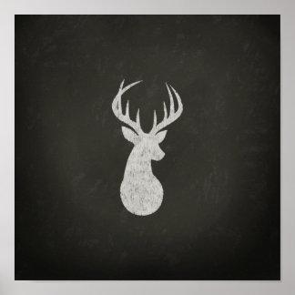 Ciervos con el dibujo de tiza de las astas póster