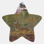 Ciervos con un cielo azul rosado pegatina forma de estrella personalizada