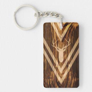 Ciervos de Boho en la madera rústica Llavero Rectangular Acrílico A Doble Cara