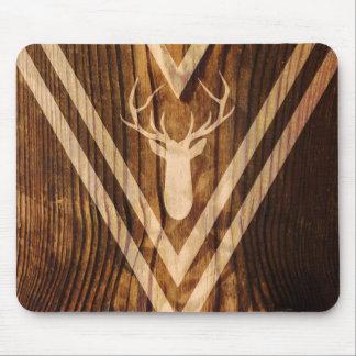 Ciervos de Boho en la madera rústica Mouse Pad