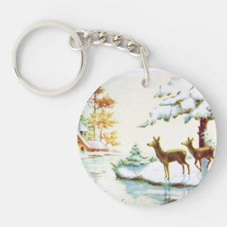 Ciervos de Bonne Annee en la nieve Llavero Redondo Acrílico A Una Cara
