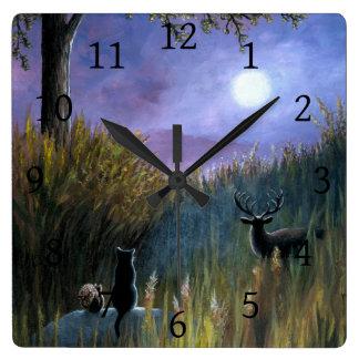 Ciervos de la ardilla de gato negro de la luna del reloj cuadrado