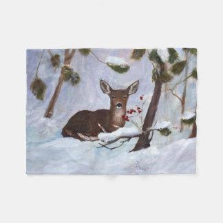 Ciervos de la baya del acebo manta de forro polar