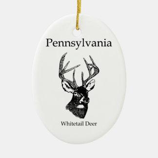 Ciervos de la cola blanca de Pennsylvania Adorno Navideño Ovalado De Cerámica