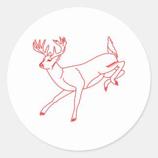 Ciervos de la cola blanca pegatina redonda