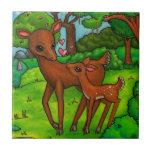 Ciervos de la madre y cervatillo del bebé tejas  cerámicas