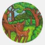 Ciervos de la madre y cervatillo del bebé pegatina redonda