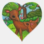 Ciervos de la madre y cervatillo del bebé pegatina en forma de corazón