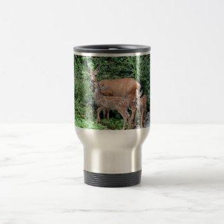 Ciervos de la madre y foto de los cervatillos tazas de café