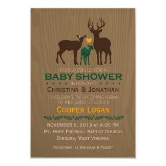 Ciervos de la mamá, del papá y del bebé - la ducha invitación 8,9 x 12,7 cm