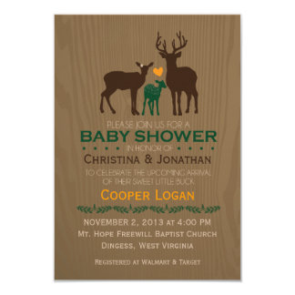 """Ciervos de la mamá, del papá y del bebé - la ducha invitación 3.5"""" x 5"""""""