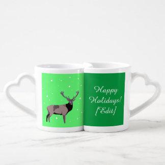 Ciervos de la nieve - buenas fiestas sistema de la tazas amorosas