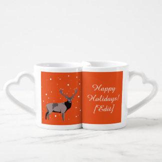 Ciervos de la nieve - buenas fiestas sistema de la taza para parejas