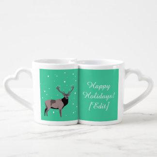 Ciervos de la nieve - buenas fiestas sistema de la taza amorosa