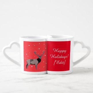 Ciervos de la nieve - buenas fiestas sistema de la tazas para enamorados