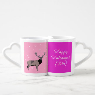 Ciervos de la nieve - buenas fiestas sistema de la taza para enamorados