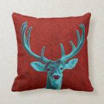 Ciervos de la turquesa y rojo rústico almohada