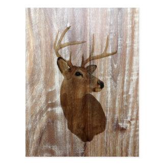 ciervos de madera rústicos del grano del país tarjeta postal