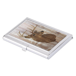 ciervos de madera rústicos del vintage del grano cajas de tarjetas de negocios
