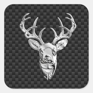 Ciervos de plata en la impresión negra del estilo pegatina cuadrada