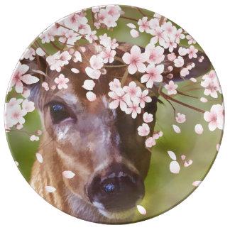 Ciervos debajo del cerezo platos de cerámica