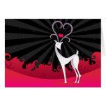 Ciervos del amor en rojo y negro - tarjeta