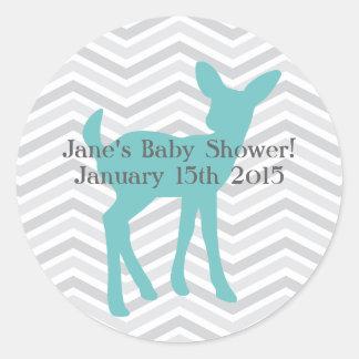 Ciervos del bebé azul y pegatinas grises de pegatina redonda