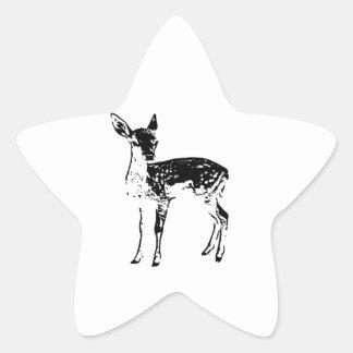 Ciervos del bebé - cervatillo pegatina en forma de estrella