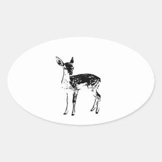 Ciervos del bebé - cervatillo pegatina ovalada