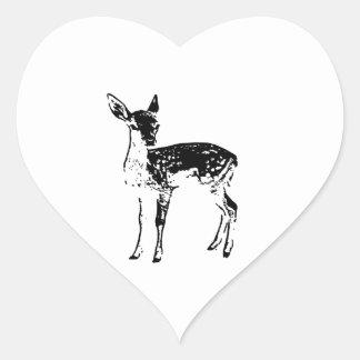 Ciervos del bebé - cervatillo pegatina en forma de corazón