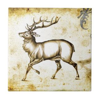 Ciervos del fineart F076 del vintage Azulejo Cuadrado Pequeño