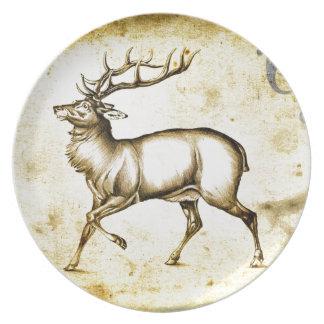 Ciervos del fineart F076 del vintage Plato De Cena