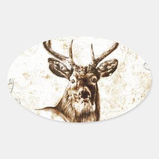 Ciervos del fineart F078 del vintage Calcomanía De Óval