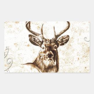 Ciervos del fineart F078 del vintage Pegatina Rectangular