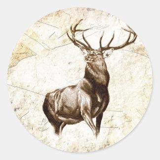 Ciervos del fineart F079 del vintage Pegatina Redonda