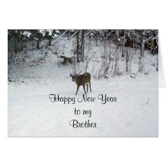 Ciervos del hermano de la Feliz Año Nuevo Tarjeta De Felicitación