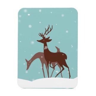 Ciervos del invierno de Brown y del trullo en niev Iman Rectangular